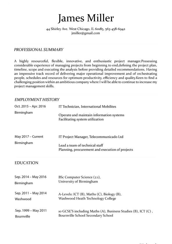 Professional Education Resume